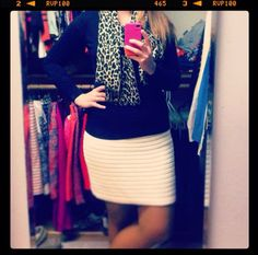 Leopard scarf with J.Crew sweater and Madewell skirt on gussied up blog #instagram