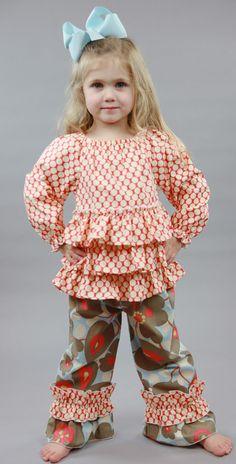 Southern Tots Floral Ruffle Peasant Pants Set