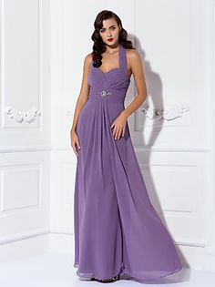 Floor-length Georgette Bridesmaid Dress - Royal Blue Plus Sizes / Petite A-line V-neck - USD $ 79.99