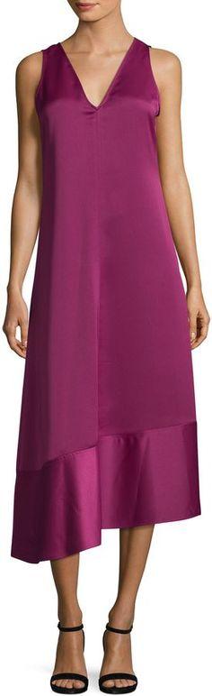 Anne Klein Women's Double V-Neck Asymmetrical Dress