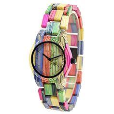 Bewell Reloj de madera de las mujeres hechas a mano Reloj analógico de  cuarzo de peso 9e817435fedb