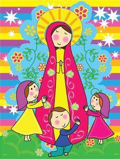 Resultado de imagen para Dibujo infantil de la virgen de Fatima Mama Mary, Blessed Virgin Mary, Blessed Mother, Mother Mary, Religious Art, Folk Art, Decoupage, Drawings, Prints