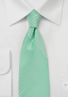 Bright Mint Colored Summer Plaid Necktie