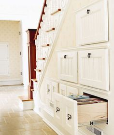Under-the-staircase cubby/drawers