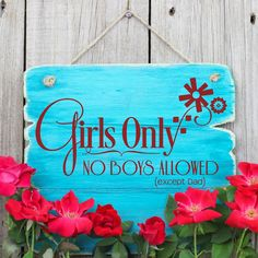 """www.lacybella.com """"Girls Only no boys allowed except dad"""" decal sticker sign"""