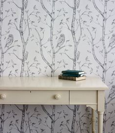 Aeropostale Womenu0027s Bird Tree Peel And Stick Wallpaper Grey