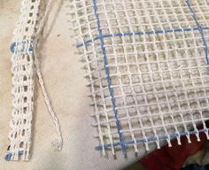 Locker Hooking Tutorial: Make a Rug From Recycled Men's Shirts – Through The Eyes Of A Quilter Locker Hooking, Rug Hooking, Recycled Mens Shirt, Locker Rugs, Rug Loom, Produce Bags, Fabric Strips, Punch Needle, Yarn Needle