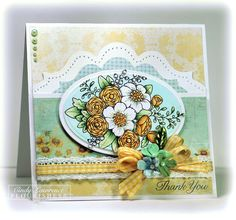 "My card is 5-1/4"" square, and the image is colored with the following Copic Marker Collections:Iced Aqua, Sunflower and Pistachio collections  All of the pretty patterned papers and embellishments come from this month's 123 Create Kit!"