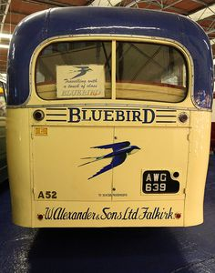 Back of an antique Blue Bird school bus - likely from the 194Os