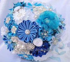 """Fabric Wedding Bouquet, brooch bouquet """"Blue Lagoon"""", Blue, Turquoise, White and Royal blue Ribbon Bouquet, Wedding Brooch Bouquets, Hand Bouquet, Diy Bouquet, Bride Bouquets, Rose Wedding, Wedding Flowers, Flower Bouqet, Wedding Fabric"""