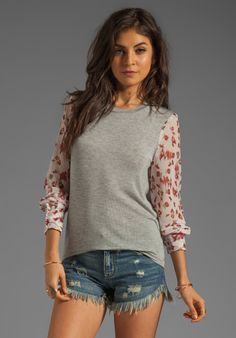 Charles Henry Knit Pullover with Printed Sleeves in Rosebud