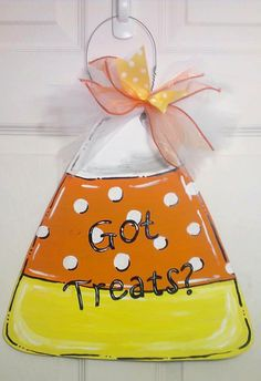 Got Treats? Candy Corn Wood Door Hanger or Sign - Perfect for Halloween or Fall!  Like us on Facebook at facebook.com/barberfarmsllc