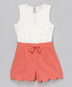 Monteau Girl White & Coral Floral Lace Romper | zulily
