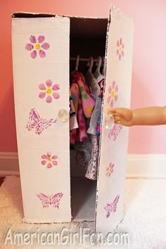 Closet for your doll clothes made out of old cardboard box - free tutorial