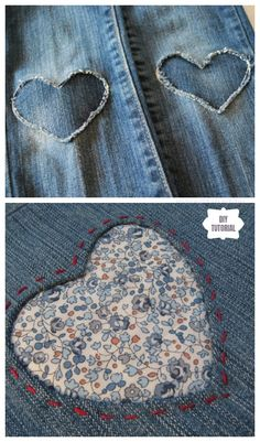 Fun DIY Jean Hole Patches in Cutest Ways – Patch Jean Holes with Fabric Heart DIY Tutorial Lifestyles, lifestyles and … Sewing Hacks, Sewing Tutorials, Sewing Crafts, Sewing Patterns, Sewing Tips, Fabric Crafts, Quilt Patterns, Como Fazer Short, Artisanats Denim