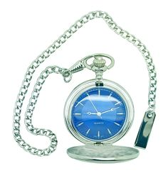 A lovely old fashioned pocket fob watch finished in a silver colour with a striking blue dial.