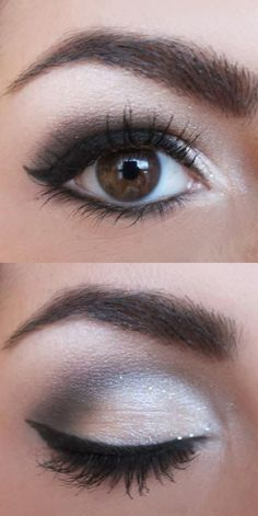 Great Smokey Eye Makeup--this is good for women over 40, too...the lighter shades closer to the bridge of the nose enlarge the eyes...
