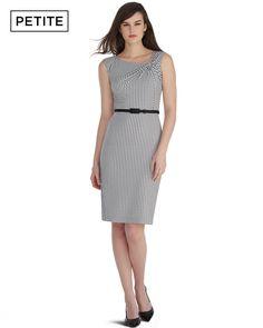 Petite Sleeveless Printed Twist Shoulder Sheath Dress - White House | Black Market