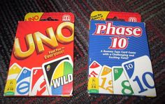 NEW LOT OF 2 MATTEL GAMES UNO & PHASE 10 CARD GAME, TRAVEL CARD GAME, MINT NIOP #MATTEL