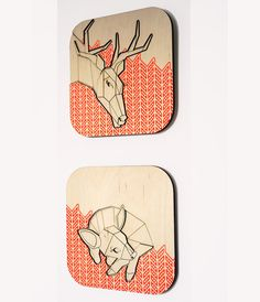 Items similar to Geometric Lasercut Plaques - Children's Wall Art - Natural Nursery Decor - Mom and Baby Reindeer, Set of 2 on Etsy Laser Cut Wood, Laser Cutting, Natural Nursery, Wood Nursery, Childrens Wall Art, Wall Plaques, Wood Wall, Laser Engraving, Kids Room