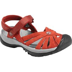 Femine water sandal with proven Keen performance. The Rose can dress up or down and make a great travel sandal. Keen Shoes, Cute Shoes, Closed Toe Sandals, Shoes Sandals, Walking Company, Red Flats, Womens Flats, Casual Shoes, Baby Shoes