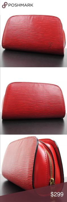 """Authentic Louis Vuitton Red Epi Cosmetic Pouch Authentic Louis Vuitton Epi Pouch by Louis Vuitton. Excellent condition! Used a few weeks to store receipts. Comes with a dustbag. 6.5"""" by 4"""". Louis Vuitton Bags Cosmetic Bags & Cases"""