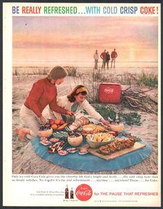 1959 COCA-COLA AD Picnic on the Ocean Beach 3 Couples w/ Coke Cooler