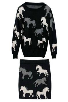 New!ホース柄ニットセーター&スカート Horse Details Knit Sweater & Skirt【楽天市場】price6,500円 (税込 6,825 円) 送料別