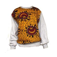 8e31c802c41 Tribal African Print Gray Sweatshirt (yellow Red) Modern African Clothing