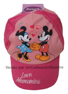 Casquette enfant fille Minnie Disney memories 1950 officiel rose pastel  100% coton par UnCadeauUnSourire.com