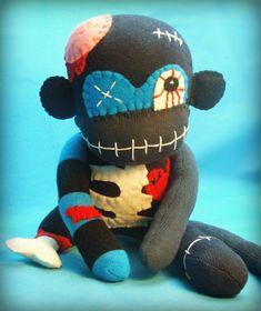 Albert The Zombie Sock Monkey Monster Halloween by AintQuiteRight