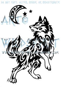 Windy Swirl Wolf And Moon Tattoo by WildSpiritWolf.deviantart.com on @deviantART