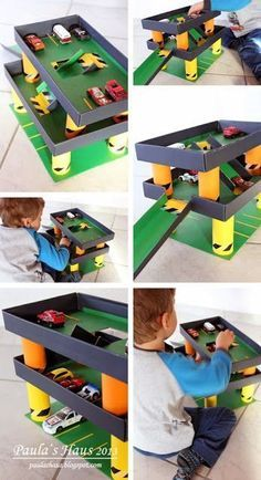 Parkhaus aus Toilettenpapier … (Paula & # s Haus) – … - Kinderspiele Diy Crafts For Kids, Projects For Kids, Car Crafts, Craft Ideas, Diy Niños Manualidades, Recycled Shoes, Recycled Materials, Cardboard Toys, Diy Toys
