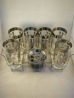 Mid Century Mad Men Bar Set, 6 Kimiko Vintage Cocktail Glasses, Coat of Arms, Trojan chrome coasters, Caddy, glass drink stirrers by TheYoungAntiquers on Etsy