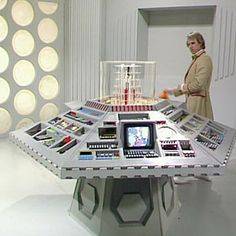 """Doctor Who 1983 - 1988 - Doctor Who Timeline DW: """"I can't believe how clean the TARDIS room looks, I must congratulate the BBC for doing such a great job"""" """"My only worry now is how do these controls work"""" """"I was never given a book of instructions""""."""