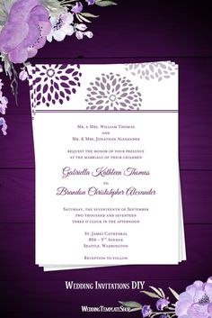 Plum, Purple, & Lilac Wedding Invitations, DIY Printable Templates in Floral Petals Design Series.