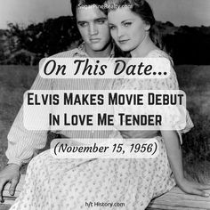 On This Date: Elvis Makes Movie Debut In Love Me Tender (November 16, 1956) On This Date, Letter Board, November, Dating, Lettering, Twitter, Movies, November Born, Quotes
