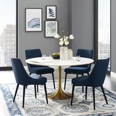 Lippa 54 inch Round Dining Table in Gold White, Size: Medium Dining Room Design, Dining Room Table, Table And Chairs, West Elm Dining Table, Room Chairs, White Round Dining Table, Small Round Kitchen Table, Navy Blue Dining Chairs, Round Office Table