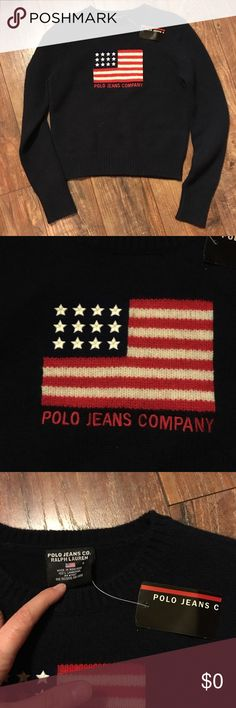 Polo Ralph Lauren classic American flag sweater Polo Ralph Lauren classic American flag sweater NWT. Perfect condition. Perfect 90's throw back fashion piece. No holds or trades. Color is navy Polo by Ralph Lauren Sweaters Crew & Scoop Necks
