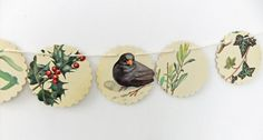 Winter garland, upcycled bunting, Christmas Bunting, eco-friendly banner, Christmas decoration
