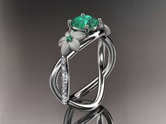 14kt  white gold diamond leaf and vine birthstone ring ADLR90 Emerald - May's Birthstone. nature inspired jewelry
