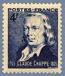 Claude Chappe 1763-1805 - 150ème anniversaire du Télégraphe - Timbre de 1944