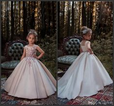 Blush Pink Princess Flower Girl Dresses 2018 New Lace Applique Beads Sleeveless Long Sweep Train Satin Girls Pageant Gowns Formal Wear 656 Clothes For Girls Dress For Girls From Cqjie4567, $85.93| Dhgate.Com
