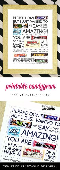 Free printable Valentine's Day candygram (candy poster – Valentinstag My Funny Valentine, Valentine Gifts For Husband, Christmas Gifts For Boyfriend, Gifts For Your Boyfriend, Valentines Diy, Printable Valentine, Valentine Poster, Teacher Valentine, Teen Boyfriend