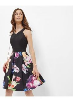 Ted Baker Tapestry Floral Pleated Dress Black