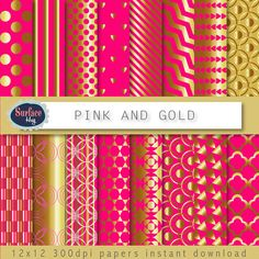 Gold Digital paper PINK and GOLD pink digital paper, Pink Scrapbook paper, gold chevron, gold polka dot for invitations, metallic gold paper