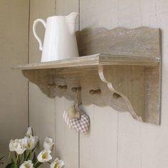 £39.99 - Kitchen shelf    Natural wooden 5 hook shelf