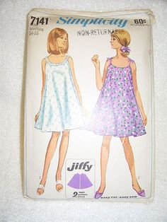 a79dadf313 1967 Vintage Simplicity Nightgown Pattern Nightgown Pattern