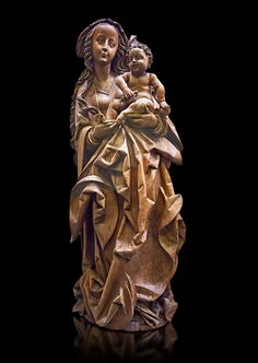 Wooden Gothic sculpture of the Virgin and Child attributeed to Martin Hoffman from the city of Basle, 1507, Switzerland. From the Commandry of Isenheim, Haut Rhin. Inv RF 1833 The Louvre Museum, Paris. | Photos Gallery