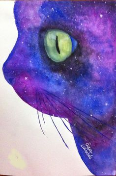 #cat #universe #watercolor #illustration